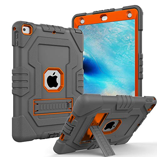 Case for iPad 9.7 2018,iPad 2017 9.7,iPad 6th Generation,Digital Hutty 3 in 1 Shockproof Heavy Duty Full-Body Protective Cover with Kickstand for Apple New iPad 9.7 Inch Gray Orange