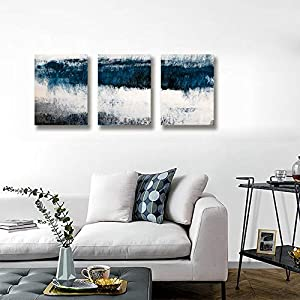 Abstract Canvas Wall Art Prints Painting Navy Blue Tones Modern Creative Artwork 3 Panels/Set Framed Bathroom Pictures Ready to Hang for Living Room Bedroom Office Kitchen Decorations 12″x16″x3