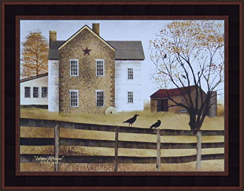 - Home Cabin Décor Autumn Afternoon by Billy Jacobs 15x19 Farmhouse Barn Country Folk Art Print Framed Picture (Country Black Woodtone)