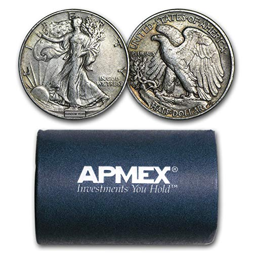 1916-1947 90% Silver Walking Liberty Halves $10 20-Coin Roll XF Silver Extremely ()