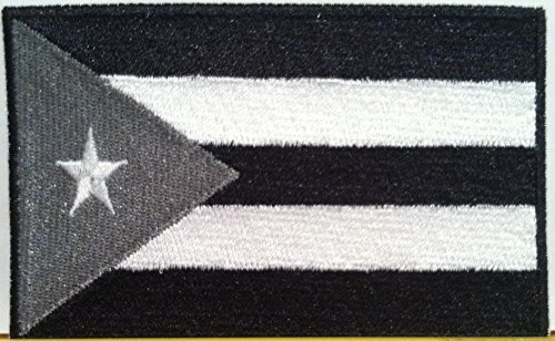 Puerto RICO Flag Embroidered Patch with Hook & Loop Travel Morale Patriotic MC Biker Shoulder Black, Gray & White Version Black Border Boricua Puerto Rican Emblem #067