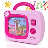 SGILE Musical Box Toy with Animation on Screen and Sleepy Lullaby for Ages 18 Months Up Infant Baby Toddlers Boys Girls, No Batteries Needed, Pink