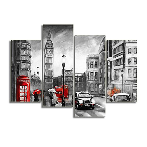 32' White Umbrella - KALAWA Modern Wall Decor Under Red Umbrella on London Street Classic Big Ben Black and White Photograph with Pop of Color on a Red Telephone Booth Painting Picture on Canvas (48''W x 32''H)