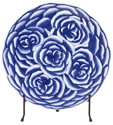 Ceramic Charger with Stand in Blue and White