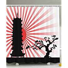 Asian Decor Japanese Landscape Red Sun Bonsai Tree Asian Tower Architecture Sakura Cherry Blossoms Home Accent Different Bath Art Prints Assorted Colors Shower Curtain - Red White Black