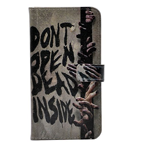 iphone 6 (4.7inch) Zombie Dont open dead Inside Hand Fun Cool Pattern Leather Wallet Credit Card Holder Pouch Flip Stand Case Cover For Apple iphone 6 /iphone 6S New 2015