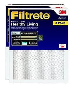 Filtrete MPR 2200 20 x 25 x 1 Healthy Living Elite Allergen Reduction AC Furnace Air Filter, Delivers Cleaner Air Throughout Your Home, Guaranteed Airflow up to 90 days, 2-Pack