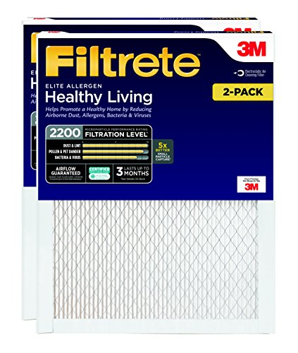 Filtrete Healthy Living Elite Allergen Reduction Filter, MPR 2200, 14 x 20 x 1-Inches, 2-Pack