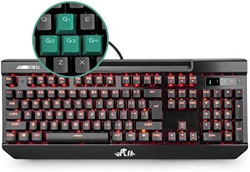 Rii K61C Teclado Gaming Mecánico 104 Teclas Anti-Ghosting Teclado de Ordenador retroiluminado con 3 Teclas de Macros (Layout Español)