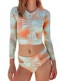 Pink Queen Women's Zip-up Floral Print One-piece Swimsuit Rash Guard Shirts