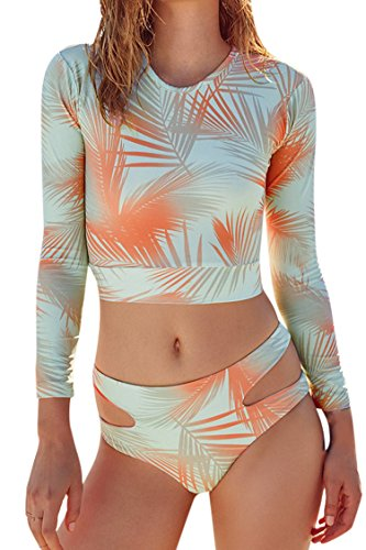 Kisscy Women's Printed Long Sleeve Cut Out Bottom Two Pieces Rashguard Swimsuit S