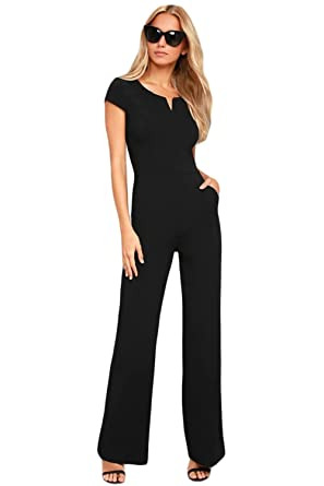 separation shoes fda4a c300a COSIVIA Damen Sommer Elegant Schwarz Kurzarm Bodycon Lose Jumpsuit Lang  Weites Bein Overalls Hoher Taille Party Spielanzug Hose Sunday