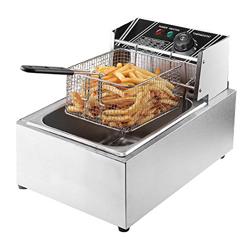Flexzion Deep Fryer with Basket – 2500W 6 Liter Stainless Steel Electric Fryer Countertop Basket Scoop Fryer for Commercial Professional Restaurant Kitchen w/Adjustable Temperature