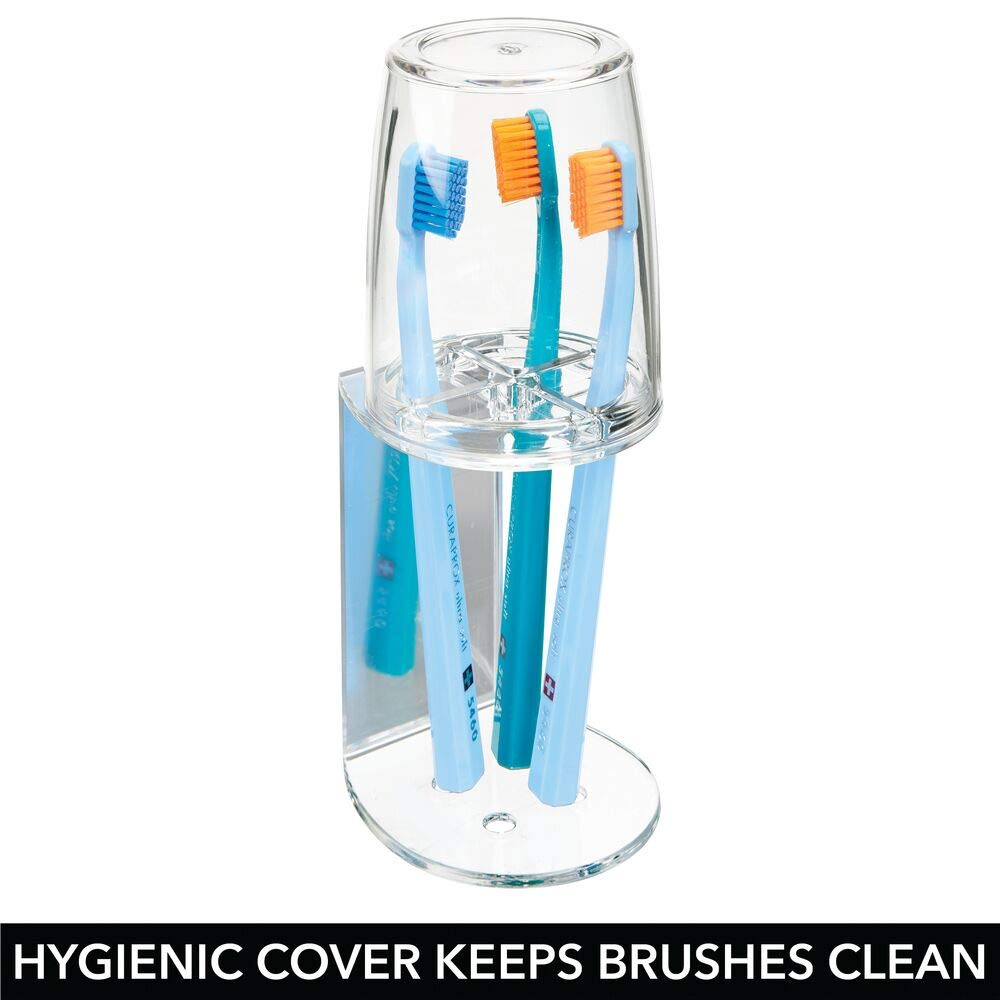 mDesign Vaso para cepillo de dientes transparente Soporte para cepillos de dientes con cierre seguro y de pl/ástico Portacepillos de calidad con tapa para el ba/ño