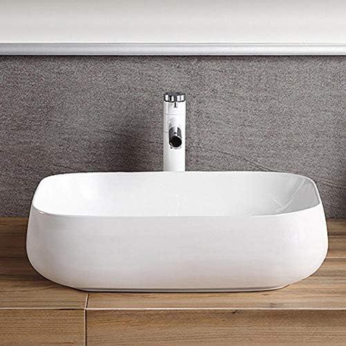 セラミック洗面器 北欧の楕円形の白い磁器流域浴室キャビネット洗面化粧台のキャビネット バスルームキャビネットシンク (色 : 白, Size : 71.5x41x15cm)