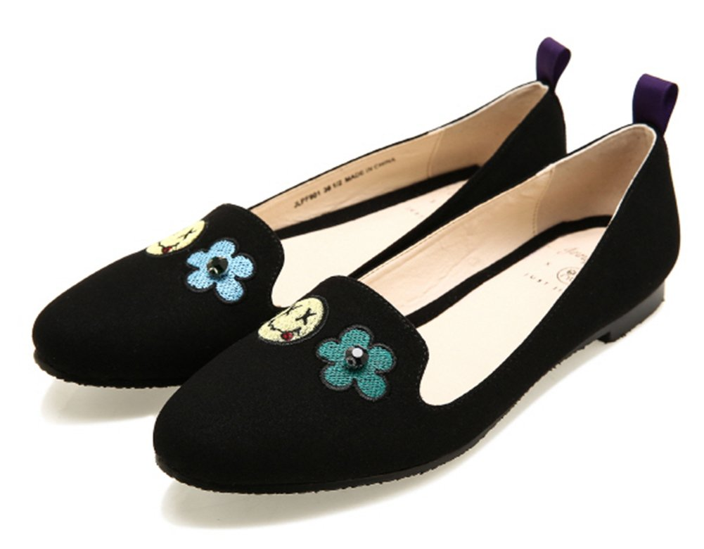 JUST JINNY Black Rounded Embroidery Toe Flat Loafer Fashion Driving Shoes For Women 6.5 Black