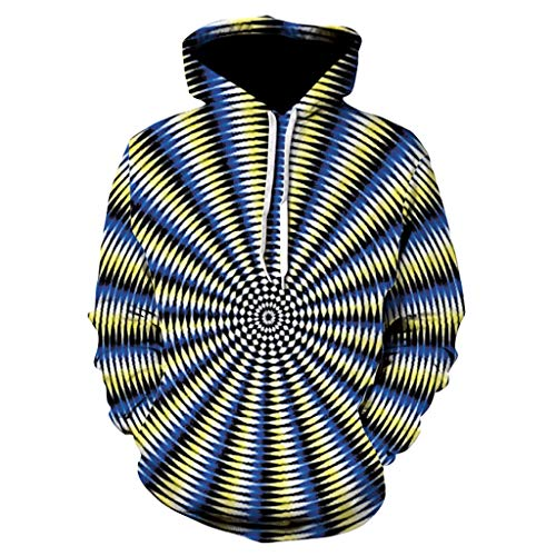AmyDong Hot Men's Long Sleeve Hooded Sweatshirt 3D Digital Vortex Printed Blouse Hoodie Tops (Bell Top Vortex)