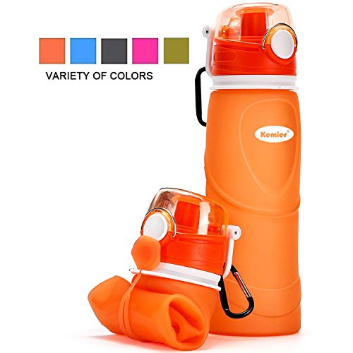 Kemier Collapsible Silicone Water Bottles-750ML,Medical Grade,BPA Free,FDA Approved.Can Roll Up,26oz,Leak Proof Foldable Sports & Outdoor Water Bottles (Orange) by Kemier