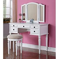 1PerfectChoice Tri Folding Mirror Vanity Set Makeup Table Dresser w/ Stool 5 Drawer White Wood