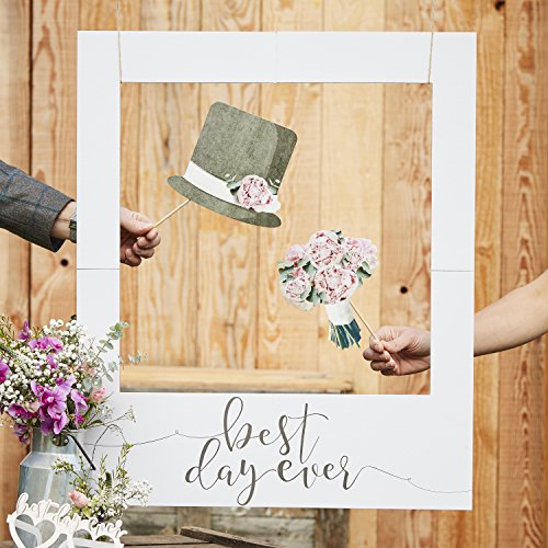 Ginger Ray Giant Wedding Photo Frame Or Backdrop - Text: Best Day Ever - Rustic Country -