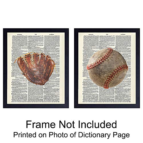 - Baseball Wall Art Prints on Dictionary Photo - Set of Two (8x10) Ready to Frame Vintage Photos - Great Gift for Boys and Girls Rooms - Cool Steampunk Home Decor