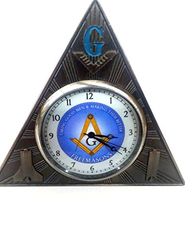 D0210 Clock Desk Masonic Freemason Light Blue Face Two Tone