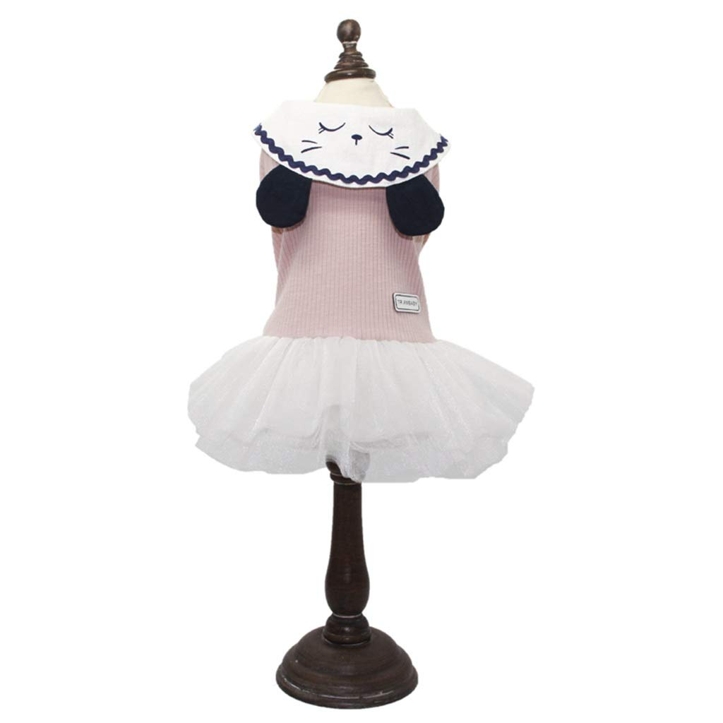 HXBLB Dog Clothes Skirt Pettiskirt Princess Spring and Summer Thin Section Round Neck Embroidered cat Tide Brand Small Teddy Bear (Color : Pink, Size : XXL)