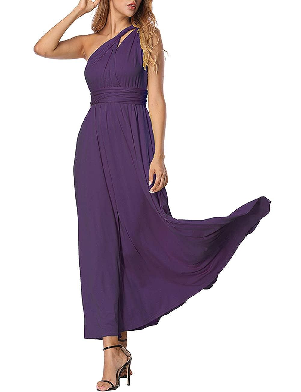 TALLA M(ES 40-44). FeelinGirl Mujer Vestido de Noche Longitud Máxima Falda Fiesta Cóctel Tirantes Convertibles Multi-Manera Púrpura Oscuro M(ES 40-44)