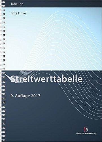 Streitwerttabelle (Gebührentabellen) Taschenbuch – 3. Oktober 2017 Fritz Finke 382401498X Recht / Sonstiges Deutschland