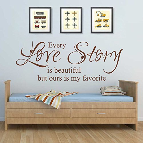 Romantic Love Saying Decal Vinyl Love Quote Love Wall Sticker Words Phrase Letters Master Bedroom Wall Art Decor - Every Love Story Is Beautiful But Ours Is My Favorite Dark Brown