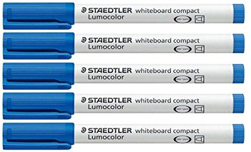 STAEDTLER Blue Lumocolor Compact Whiteboard Board Markers Pens Drywipe 341 (Pack Of 5) Drywipe (Lumocolor Blue Markers)