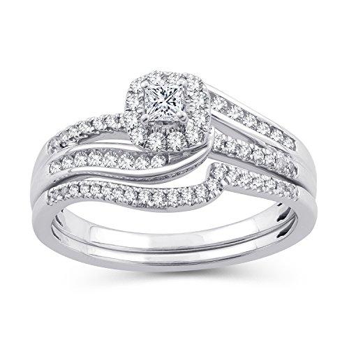 (1/2 CT. T.W. Princess-Cut Diamond Bypass Halo Bridal Set 10K White Gold (IJ/I2-I3) (8))