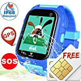 Kids GPS Tracker Watch - [SIM CARD Set] IP68 Waterproof Kids Smart Watches Phone for Boy Girl, SOS Call Anti- Lost Watch, Child Wrist Smartwatch Learning Toy Game Gift for Holiday Christmas
