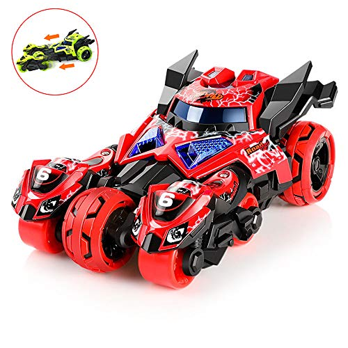 (Wowok 3 in 1 Car Launcher Toys Set, Die-cast Pull Back Car Catapult Motorcycle Race Car Trinity Chariot Vehicles Playset Educational Preschool for Kids Children Birthday Party Favors (Red))