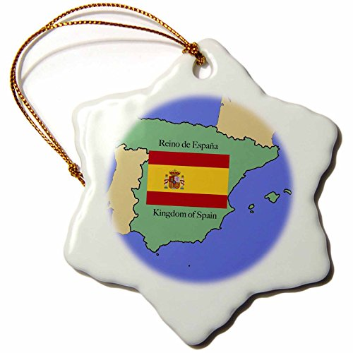 3dRose orn_40068_1 The Map and Flag of Spain with The Kingdom of Spain Printed in Both English and Spanish Snowflake Porcelain Ornament, 3-Inch by 3dRose