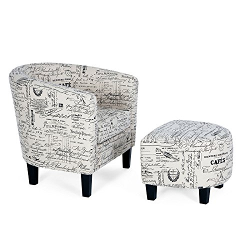 HMhome Accent Barrel Chair with Curved Back & French Print w/Ottoman Round Arms Modern Home Armrest, ()