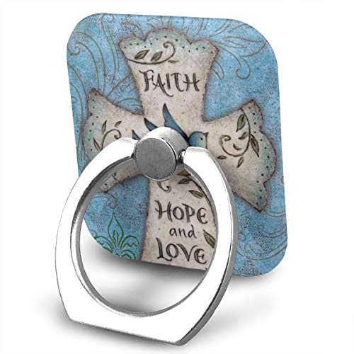 FISHISOK Hope and Love Religious Cross Easter Faith Cell Phone Ring Holder, Finger Grip Stand Holder,360 Degrees Rotation,Compatible with iPhone,Samsung,Phone Case,etc