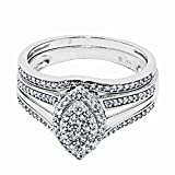 10K White Gold Bridal Ring Set 1/3cttw 11.5mm Wide Marquise Shaped Center Top Pave Set