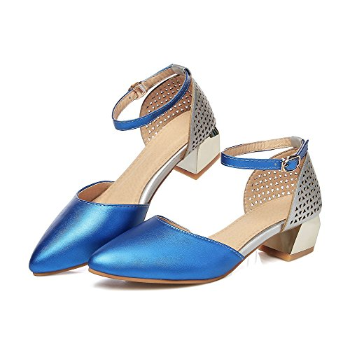 AllhqFashion Womens Assorted Color Low Heels Buckle Pointed Closed Toe Pumps Shoes Blue 6v4COVzfMK