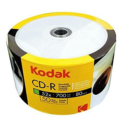 photo about Printable Cds identified as KODAK CD-R 52x 700MB 50-Charge Pack, White Inkjet Printable