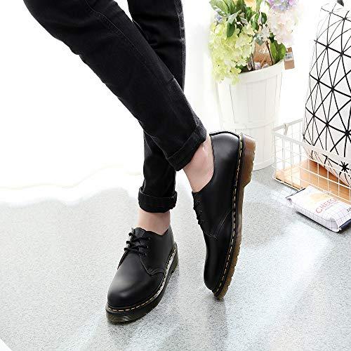 Punta Tonda Da A Retrò Moda Casual Pelle Derby Allacciare Black In Scarpe Stivali Donna Antiscivolo Con Tacco Basso scarpe Invernali Lavoro Cucire 0nYfqCw