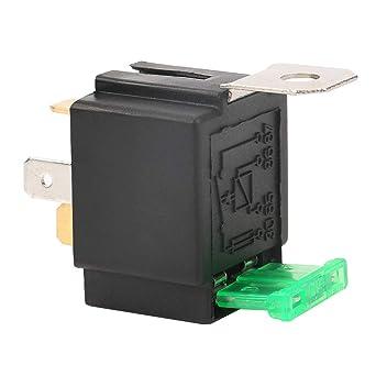 DC 12 V 30 A relé fusible, negro 4 pines caja de fusibles, relé de coche, normalmente abierto Contactos fusible, con soporte, para aplicaciones de accesorios de coche y lámpara: Amazon.es: Industria,