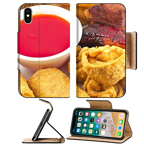 MSD Premium Apple iPhone X Flip Pu Leather Wallet Case IMAGE ID: 35232505 Pu pu platter with crab rangoon egg rolls fried chicken BBQ Beef sticks and fried wontons with sweet sauce 757 Stick