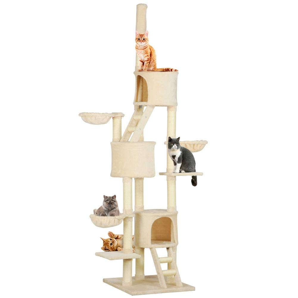 Yaheetech Extra Large Multi-Level Cat Tree Condo with Sisal-Covered Scratching Posts, Condos Baskets and Ladders, Kitty Activity Center Kitten Play House, Adjustable Height 93-103inch
