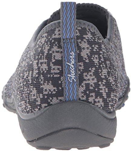 Skechers gray Trim Sneakers Easy Basses Breathe periwinkle Femme Fortune Charcoal Mesh BSAwqB