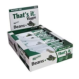 That's It Black Bean and Kale Veggie Bars, Natural Great Tasting Healthy 100% Real Veggie Snack, 4g Protein, Vegan, Gluten Free, Paleo, Kosher, Non GMO, No Preservatives, 80 Calories (12 Bars)