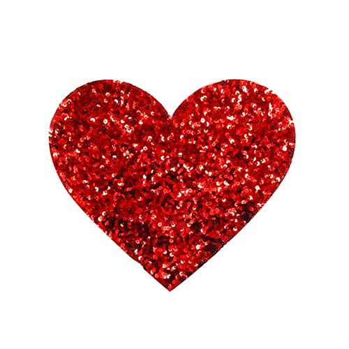 1 Pcs Sequins Patch DIY Love Heart Patches for Clothes Bags Garment Accessories Sew-on Embroidered Motif Applique (Color 6)