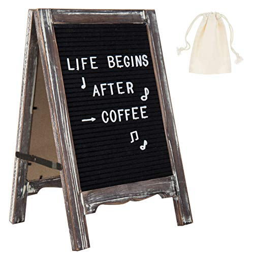 (MyGift Rustic Torched Wood Dual-Sided A-Frame Letter Board with 391 Plastic Letters & Emojis )