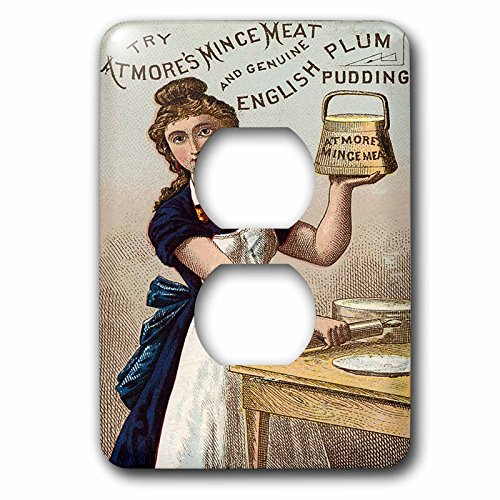 3dRose lsp_180207_6 Atmores Mince Meat and English Plum Pudding Woman Baking Light Switch Cover