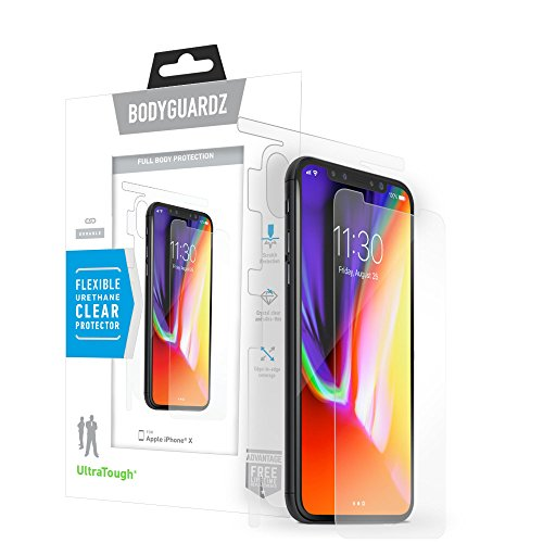 BodyGuardz - UltraTough Clear Skins Full-Body Cover for Apple iPhone X/Xs, Crystal Clear Anti-Microbial Screen and Back Protection for Apple iPhone X/iPhone ()